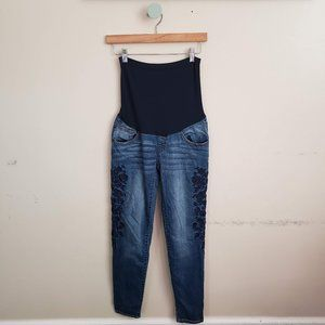 LED Maternity Embroidered Dark Wash Skinny Jeans
